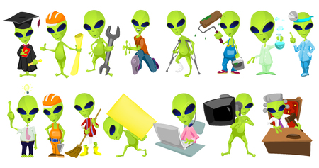 Set of green aliens wearing uniforms and holding working instruments. Set of aliens of different professions such as judge, painter, doctor, engineer. Vector illustration isolated on white background.
