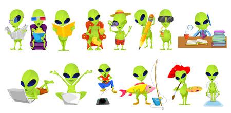 Conjunto de extraterrestres verdes que participan en esas aficiones e intereses como la lectura, la película de observación, tejido, fotografía, dibujo, jugando videojuegos, la pesca. Ilustración del vector aislado en el fondo blanco. Ilustración de vector