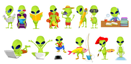 Set of green aliens engaged in such hobbies and interests as reading, watching movie, knitting, photographing, drawing, playing video game, fishing. Vector illustration isolated on white background.
