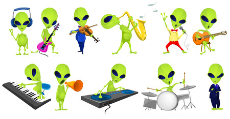 Set of green aliens singing and listening to music. Set of aliens playing saxophone, guitar, synthesizer, violin, drum, mixing music on turntables. Vector illustration isolated on white background.