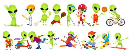 aliens: Set of green aliens wearing sport uniform and using sports equipment. Aliens is playing hockey, baseball, basketball, tennis, rugby. Aliens is skiing. Vector illustration isolated on white background.