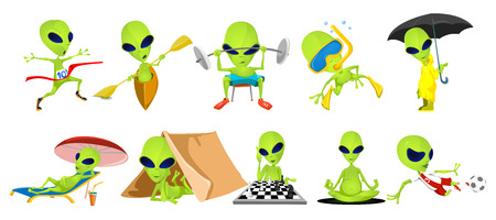 Set of green aliens lifting barbell, doing yoga, relaxing in tent, on chaise lounge. Aliens swimming, running, riding canoe, playing football, chess. Vector illustration isolated on white background. Vettoriali