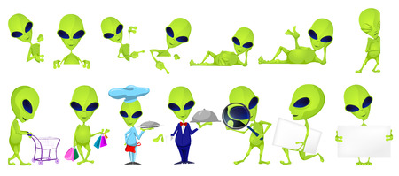 invade: Set of green aliens posing with white blank placard. Set of aliens of such professions as chef, waiter, detective. Set of aliens doing shopping. Vector illustration isolated on white background.