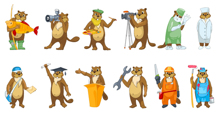 orator: Set of cute beavers in clothes of different professions such as artist, photographer, surgeon, carpenter, graduate, painter, doctor, plumber, mailman. Vector illustration isolated on white background.