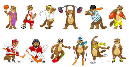 Set of cute beavers wearing sport uniform and using sports equipment. Beavers is playing football, hockey, baseball, basketball. Beavers is skating. Vector illustration isolated on white background.