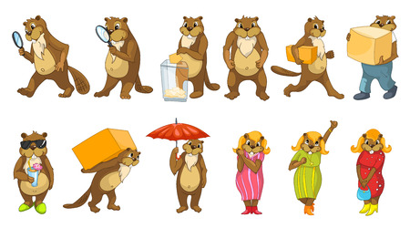 cartoon umbrella: Set of funny beavers with magnifier, election box, cardboard boxes, cocktail, umbrella. Set with cheerful female beavers wearing dresses and shoes. Vector illustration isolated on white background.