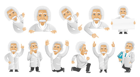 finger up: Set of illustrations with friendly old man posing with white blank placard. Oold man showing finger up, jumping, giving thumbs up, running, jumping. Vector illustration isolated on white background.
