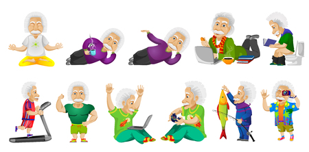 game fishing: Set of illustrations with old man meditating, using laptop, relaxing, running on treadmill, showing muscles, playing video game, fishing, taking photo.Vector illustration isolated on white background.