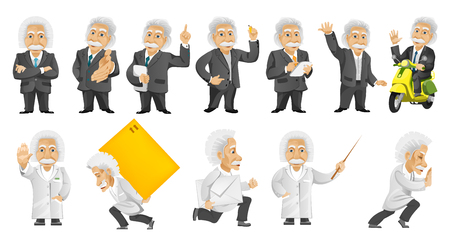 parsel: Set of illustrations with old man wearing business suit and medical gown, holding tablet computer, pointer, driving scooter, waving, delivering parcel. Vector illustration isolated on white background