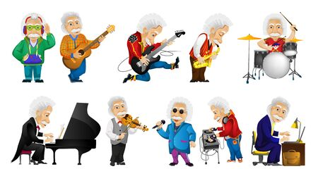 mixing: Vector set of old man singing, listening to music, playing guitar, saxophone, drum, piano, violin, mixing music on turntables, working on laptop. Vector illustration isolated on white background.