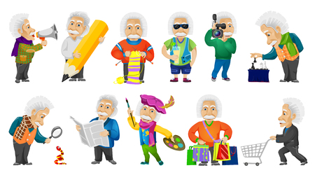 a snake in a bag: Vector set of old man shouting in megaphone, using magnifier, knitting a scarf, drinking cocktail, playing chess, doing shopping, reading newspaper. Vector illustration isolated on white background.