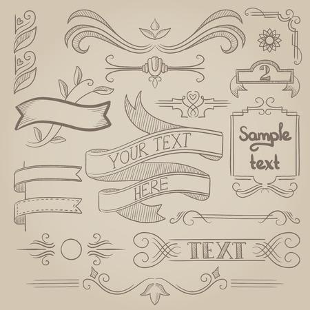 Conjunto de etiquetas, cintas de época, cuadros, banderas Ilustración de vector