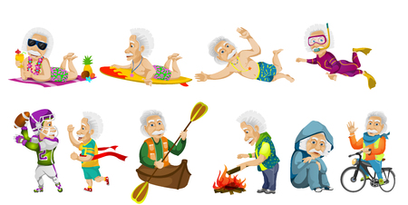 snorkeling: Vector set of old man surfing, swimming, snorkeling, riding bicycle, riding canoe, crossing finish line, relaxing, playing rugby, kindling campfire. Vector illustration isolated on white background. Illustration