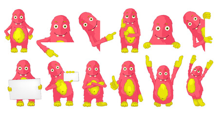finger up: Set of cute big pink monsters posing with white blank placard. Monster standing with crossed arms, showing finger up, jumping, giving thumbs up. Vector illustration isolated on white background.