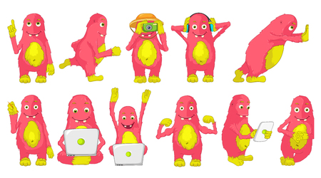 finger up: Set of cute big pink cheerful monsters using laptop, tablet computer, camera, headphones. Monster runing, poining finger up, showing muscles, drawing. Vector illustration isolated on white background.