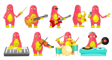 conducting: Set of cute big pink monsters conducting with baton, singing, playing guitar, saxophone, drum, synthesizer, violin, mixing music on turntables. Vector illustration isolated on white background. Illustration