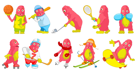 big cartoon: Set of cute big pink monsters wearing uniform and using sports equipment. Monsters playing hockey, baseball, basketball, tennis, golf. Monster skiing. Vector cartoon illustration isolated on white background.