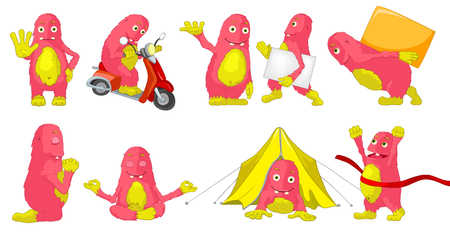 carrying box: Set of cute big pink monsters showing driving scooter, praying, carrying box and white placard, lying in tent, crossing finish line, meditating. Vector cartoon illustration isolated on white background.