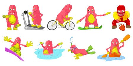 bicycling: Set of cute big pink monsters engaged in various kinds of sports such as running on treadmill, bicycling, rugby, swimming, snorkeling, kayaking. Vector cartoon illustration isolated on white background. Illustration