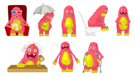 Set of cute big pink monsters watching a cinema, standing under umbrella, sitting in toilet, laughing, judging, crying, using crutches. Vector illustration isolated on white background.