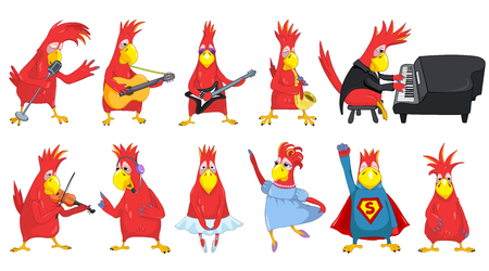 Set of funny parrots singing into a microphone, dancing ballet, playing guitar, saxophone, piano, violin. Red parrots with musical instruments. Vector illustration isolated on white background. Иллюстрация