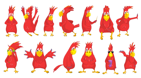 soda pop: Set of funny red parrots giving thumbs up, jumping, running, listening to music with headphones. Red parrot in sunglasses drinking soda pop. Vector illustration isolated on white background.
