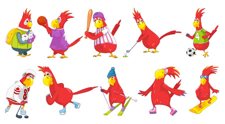 cartoon parrot: Set of funny parrots wearing uniform and using sports equipment. Parrots playing hockey, baseball, basketball, football, golf. Parrot is skating. Vector illustration isolated on white background.