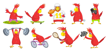Set of red funny parrots wearing uniform and using sports equipment. Cute parrots playing tennis, rugby. Parrot riding bicycle, lifting a barbell. Vector illustration isolated on white background.