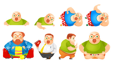 plump: Set of illustrations of cheerful fat man pointing at white blank placard. Plump man knitting, meditating in lotus pose. Fat man wearing business suit. Vector illustration isolated on white background.