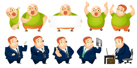 bald man: Set of people including cheerful fat bald man with white blank board and charming rotund businessman working on a laptop, pushing virtual button. Vector illustration isolated on white background.