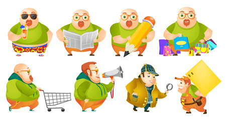 man carrying box: Set of illustrations of cheerful fat man drinking cocktail, reading newspaper, drawing with pencil, doing shopping, using megaphone, carrying box. Vector illustration isolated on white background.