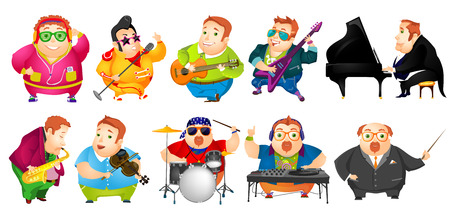 rotund: Set of cheerful fat man conducting with baton, listening music, singing, playing guitar, saxophone, piano, violin, drum, mixing music on turntables. Vector illustration isolated on white background.