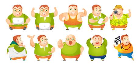 Set van illustraties van vrolijke dikke man blijkt spieren. Man met behulp van laptop, mobiele telefoon en fotocamera. Man lopen met envelop. Mollige man huilen. Vector illustratie op een witte achtergrond. Stock Illustratie