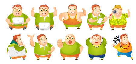 Set of illustrations of cheerful fat man showing muscles. Man using laptop, cellphone and photo camera. Man walking with envelope. Plump man crying. Vector illustration isolated on white background. Illustration