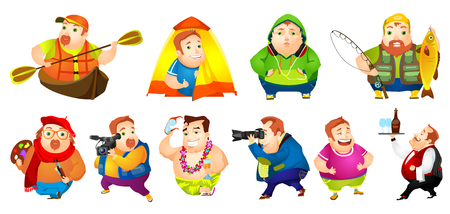 Set of illustrations of cheerful fat man engaged in such hobbies as kayaking, travelling, fishing, painting, photographing, listening to music. Vector illustration isolated on white background.