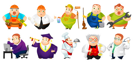 rotund: Set of illustrations of cheerful fat man of different professions such as of carpenter, painter, doctor, engineer, operator of technical support. Vector illustration isolated on white background.