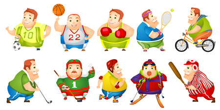 plump: Set of illustrations of cheerful fat man wearing sports uniform. Funny plump man playing hockey, baseball, basketball, football, golf, tennis. Vector illustration isolated on white background.