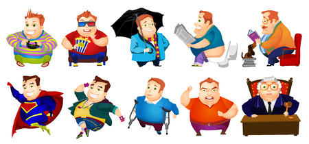 Set of illustrations of cheerful fat man playing video game, eating popcorn while watching movie, reading book, sitting in toilet with newspaper. Vector illustration isolated on white background. Ilustração