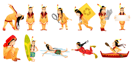Set of illustrations of american indians swimming, travelling, reading newspaper, carrying box, working with magnifier, showing white empty board. Vector illustration isolated on white background.