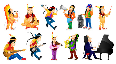 conducting: Set of american indians conducting with baton, singing, dancing, playing guitar, saxophone, piano, violin, tam tam, mixing music on turntables. Vector illustration isolated on white background. Illustration