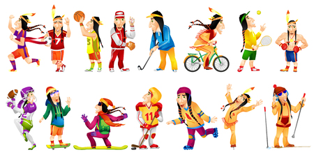 Set of illustrations of american indians wearing sports uniform. American indians playing hockey, baseball, basketball, football, golf, tennis, rugby. Vector illustration isolated on white background.