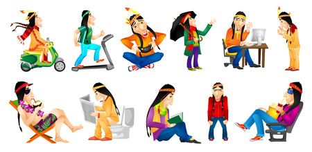 chaise longue: Set of illustrations of american indians playing video game, watching movie, reading book, sitting in toilet with newspaper, sitting on chaise longue. Vector illustration isolated on white background.