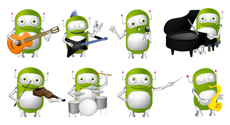 conducting: Set of green robots conducting with baton, singing into a microphone, playing guitar, saxophone, piano, violin, drum. Robots with musical instruments. Vector illustration isolated on white background.