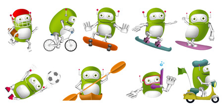 sports uniform: Set of green robots wearing sports uniform and using sports equipment. Robots playing rugby, football. Robots riding bicycle and scooter, swimming. Vector illustration isolated on white background.