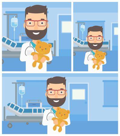 pediatrist: Young hipster male pediatrician doctor with the beard holding a teddy bear on the background of hospital room. Vector flat design Illustration. Square, horizontal, vertical layouts. Illustration