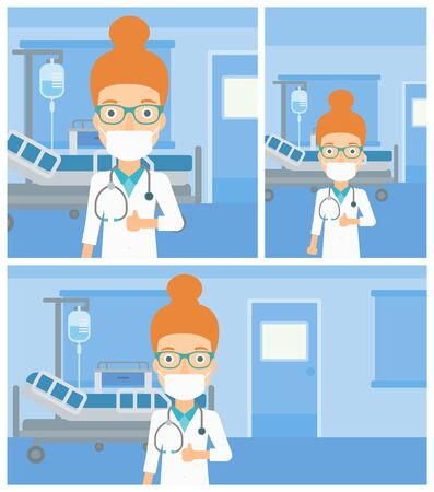 protective gown: Female cheerful doctor in mask giving thumbs up while standing on the background of hospital room. Vector flat design Illustration. Square, horizontal, vertical layouts.