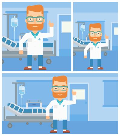 hospital gown: A hipster doctor in medical gown showing finger up while standing on the background of hospital ward. Vector flat design Illustration. Square, horizontal, vertical layouts. Illustration