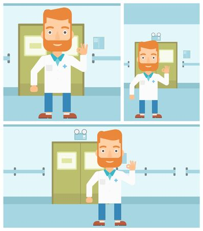 hospital corridor: A hipster doctor in medical gown showing ok sign in the hospital corridor. Vector flat design Illustration. Square, horizontal, vertical layouts. Illustration