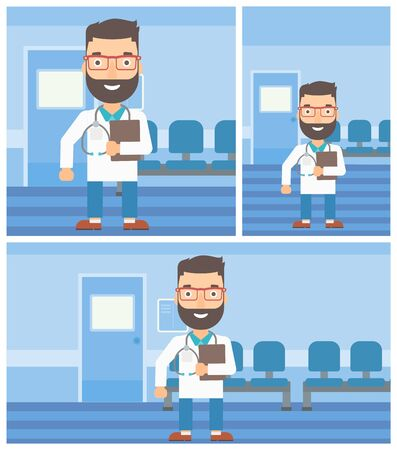 stetoscope: A hipster friendly doctor with stetoscope standing in hospital corridor and carrying folder of patient or medical information. Vector flat design Illustration. Square, horizontal, vertical layouts.