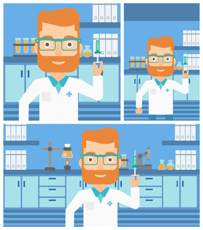 laboratory equipment: Hipster laboratory assistant with the beard holding syringe on the background of a laboratory with equipment. Vector flat design Illustration. Square, horizontal, vertical layouts. Illustration